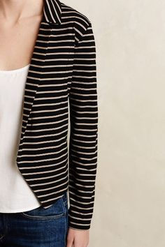 NWOT Sz S Anthropologie Shadow Band Knit Blazer By Dolan in black motif in Clothing, Shoes & Accessories, Women's Clothing, Sweaters Knit Blazer, Knit Jacket, Striped Jacket, Striped Knit, Stripes Fashion, Chic Outfits, Everyday Fashion, Autumn Winter Fashion, What To Wear