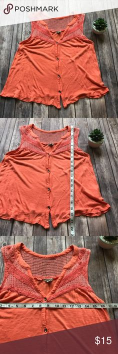 UO Ecote Sleeveless Top Size Small Cute coral orange tank with crochet top. The fabric has been worn a bit and shows some wear and there is a tiny hole on the back. Perfect for summer! 💠 Add to a bundle to get a private discount💠Free Gift with $25+ Purchase 💠 Discount ALWAYS Available on 2+ items💠 No trades, holds, modeling or transactions off of Poshmark.💠 Urban Outfitters Tops