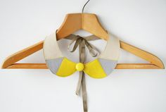 Yellow and Gray Leather Collar Bib Necklace Peter Pan by SmArtAnna, $42.00