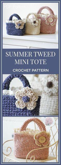 Crochet Tote Pattern - Summer Tweed Mini Tote - Crochet Toddler Tote Bag - Blue, Cream, Pink Mini Handbags - Instant Download PDF #crochetpattern #crochet #tote #affiliate #handbag #crochetbags