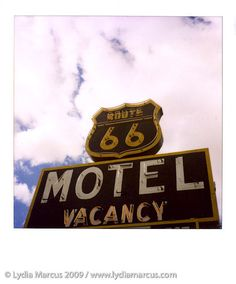Photo © Lydia Marcus / www.lydiamarcus.com  Photographed February 8, 2009 on Route 66    This motel n Barstow, CA on historic Route 66 looked absolutely NASTY, but their signage was cool. They also had nice kitsch and vintage Americana on display in the