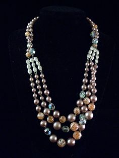 Triple Strand 1940s Choker or Statement Necklace 6903