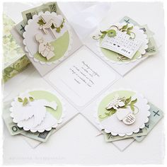 First Communion Cards, Exploding Box Card, Diy And Crafts, Paper Crafts, Card Making Designs, Gift Packaging, Greeting Cards Handmade, Fabric Scraps, Cardmaking