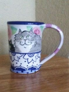 Damariscotta-Pottery-of-Maine-Coffee-Cup-Mug-Cats-Design: I just added this to my collection of Damariscotta Pottery.