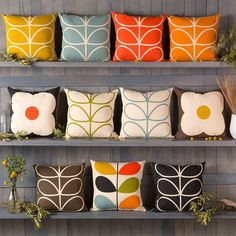Orla Kiely pillows from Surya in the iconic patterns.: