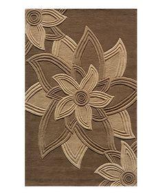 Look at this #zulilyfind! Mocha Blooms Wool Rug #zulilyfinds
