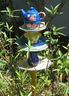 "Garden Art Made From Dishes | Garden Art Made From Dishes | tea! This is by Joyce's ""Tiers of Joy ..."