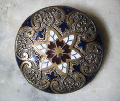 1 Antique 34mm  Cloisonne Enamel on Brass Button