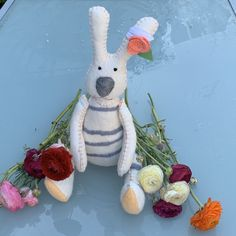 Excited to share this item from my #etsy shop: Large felt rabbit, handmade rabbit, grey and white stripes, rabbit toy Protea Flower, Rainbow Decorations, Birthday Gifts For Boys, Rabbit Toys, Nature Decor, Family Traditions, Homemade Christmas, Flower Photos, Felt Flowers