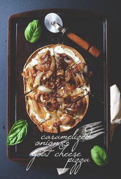 Caramelized Onion and Goat Cheese Pizza | minimalistbaker.com 197/Serving (2 Servings) Serve with balsamic (extra calories)
