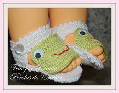 * Pérolas do Crochet: Sandalinha em croche para bebe - SAPINHO