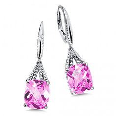 Colore Sterling Silver Pink Sapphire Leverback Earrings Product Number: LVE673-PS