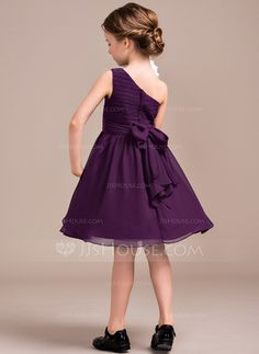 A-Line/Princess One-Shoulder Knee-Length Ruffle Bow(s) Zipper Up Regular Straps Sleeveless No Grape General Chiffon Junior Bridesmaid Dress