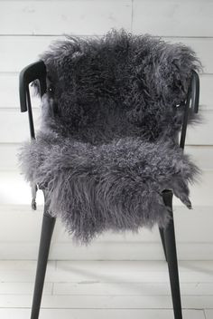 ♅ Dove Gray Home Decor ♅   grey faux fur over chair seat - white faux sheepskin (Ikea) works as well