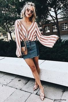 Striped bell sleeved blouse with denim skirt.
