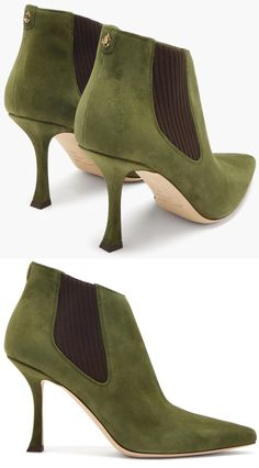 Jimmy Choo's khaki-green Maiara ankle boots in smooth suede leather, with ribbed side panels ensuring a comfortable slip-on fit, and a sharp point toe and slanted top ankle length line to give a contemporary feel. Jimmy Choo Green Suede Boots 2021. Jimmy Choo Maiara Boots 2021. Boots for an Autumn Wedding Guest. Green outfit ideas 2021. Womens Suede Boots 2021. Boots for Spring 2021. What shoes to wear with a Green Dress 2021. Autumn 2021 Green Fashion. How to wear Green 2021. Suede Boots, Suede Leather, Ankle Boots, Green Suede, Khaki Green, Shoes For Wedding Guest, Mother Of The Bride Shoes, Races Outfit, Killer Heels