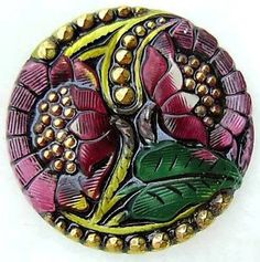 "Czech Glass Button - Yellow & Red-Violet Reverse Painted ""Double Sunflower"" Button $8.25"