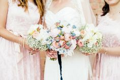 beautiful pastel colours for the #summer #wedding day  Photo by Die Hochzeitsfotografen #flowers #bouquets #blush #fresh