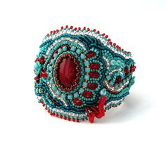 Bead embroidered bracelet beadwork bracelet turquoise and by ibics, $125.00