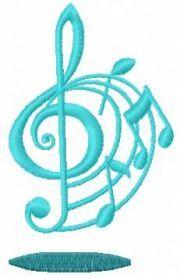 treble clef free machine embroidery design 7