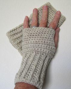 Crocheted Fingerless Gloves / Wrist Warmers - Natural Heather. $6.50, via Etsy.