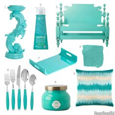 Turquoise Home Accessories - Turquoise Home Decor - House Beautiful  SEE, TOLD YOU MIAMI COLOR.   ASHLEYYJAMES