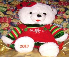 "eBlueJay: 2013 Walmart Snowflake Christmas Teddy, White Plush Bear, Girl Large 20"" Dan Dee Free Shipping,"