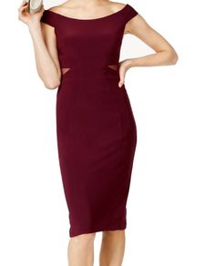 a05234f04471d Xscape NEW Wine Red Womens Size 12 Off-Shoulder Solid Sheath Dress  109 066