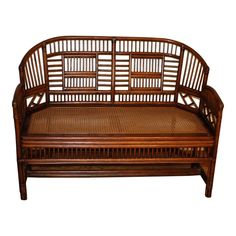 Hard to find rattan settee in the Brighton Pavilion style. Cane Furniture, Rattan Furniture, Vintage Furniture, Outdoor Furniture, Outdoor Decor, Chinoiserie, Brighton, Windsor, Classic Home Decor