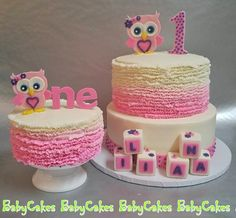 Owl themed 1st birthday cake with coordinating smash cake.