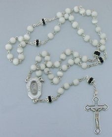 Glass Rosary Beads with Black Pearl beads and a Lourdes Water Center-Piece $19.99