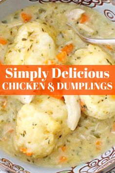 Simply Delicious Chicken and Dumplings - Foodtastic Mom Homemade Chicken And Dumplings, Dumplings For Soup, Dumpling Recipe, Chicken Dumplings, Best Dumplings, Leftover Chicken Recipes, Best Chicken Recipes, Soup Recipes, Cooking Recipes