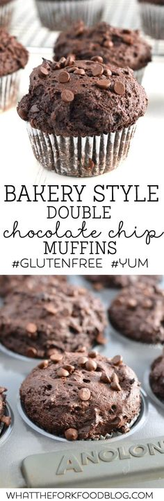 These Gluten Free Bakery Style Double Chocolate Chip Muffins would be a sweet way to start your Valentine's Day! from What The Fork Food Blog | @WhatTheForkBlog | whattheforkfoodblog.com #glutenfree #muffin #chocolate