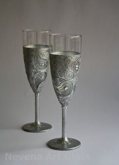 Swarovski Wedding Glasses | Wedding Glasses Hand Painted Silver Swarovski Crystals set of 2 ...