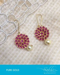 How Sell Gold Jewelry Info: 1555289166 Gold Jhumka Earrings, Gold Earrings Designs, Antique Jewellery Designs, Jewelry Design, Real Gold Jewelry, Gold Jewellery, Mens Sterling Silver Necklace, Garnet Necklace, Pendant Necklace