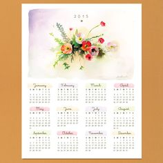 Watercolor Calendar 2015