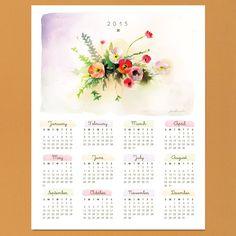 Watercolor Calendar 2015 www.lovevsdesign.com {free}