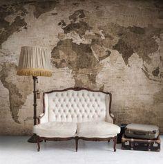 World Map, brown wall murals - wallpaper | Rebel Walls