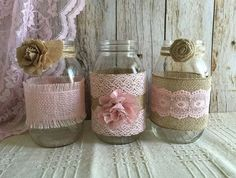 3 pink burlap and lace covered mason jar vases, wedding, bridal shower, baby shower jars size: 32 OZ 3.78 x 7.0 (Flowers NOT included) After i receive payment, please EXPECT approximately 2 to 3 weeks for your item to be made and prepared for shipment. I also make any color and size vases you want, just let me know what you are looking for. Mason jars are perfect for fresh flowers, dried flowers or makes perfect for your wedding centerpieces, bridal shower, baby shower, engagement…