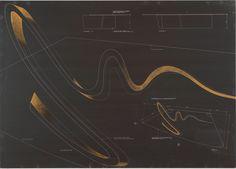 Zaha Hadid's photographic negative print of Sperm Table, 1988