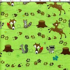 1/2 Yard Quilt Fabric Fox Trails Baby Quilt Fabric Deer Raccoon Green    auntiechrisquiltfabric - Craft Supplies on ArtF