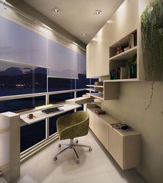 Projeto de home office LEI-LUI, dupla. Moveis dinâmicos para disfrutar a sacada, a vista, criando uma esquina de trabalho aconchegante.