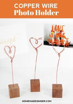 It's simple to make wire photo holders at home. All you need is some copper wire, wooden blocks and a handful of other supplies to create DIY photo holders for your home.