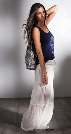 A white long #skirt, a top, a bag and you're ready to go #QSWLOOKS #fashion