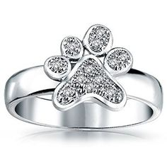 Amazon.com: Sterling Silver Rhodium Plated Cubic Zirconia Dog Paw Print Statement Ring: Jewelry