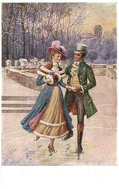 2016 Old Christmas Post Card – 'Figure skating' Old Time Christmas, Christmas Post, Christmas Scenes, Old Fashioned Christmas, Victorian Christmas, Xmas, Christmas Greetings, Vintage Christmas Images, Vintage Holiday