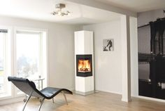Kamin in der Ecke - Ofen - minimalistisch - Fireplace - Nordpeis AS