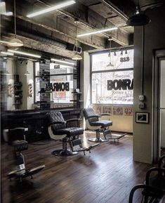 Pin by hunter collective on hair salon inspiration in 2019 с Barber Shop Interior, Barber Shop Decor, Barbershop Design, Barbershop Ideas, Shampoo Bowls Salon, Salon Chairs, Salon Furniture, Shop Front Design, Salon Design