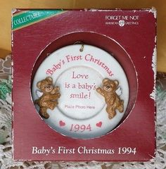 Vintage 1994 Baby's First Christmas Photo Ornament by American Greetings NIB *et