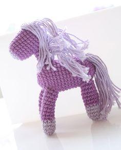Crochet amigurumi horse, handmade doll, pony miniature, Purple Horse, crochet animal, Waldorf miniature, handknit horse, crocheted horse